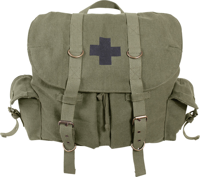 e2f4555dd9f8 Olive Drab Vintage Military Medic Canvas Front Strap Backpack