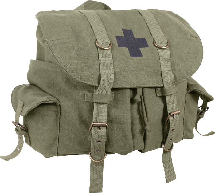 e63f47c7053c More Views. Olive Drab Vintage Military Medic Canvas Front Strap Backpack  ...