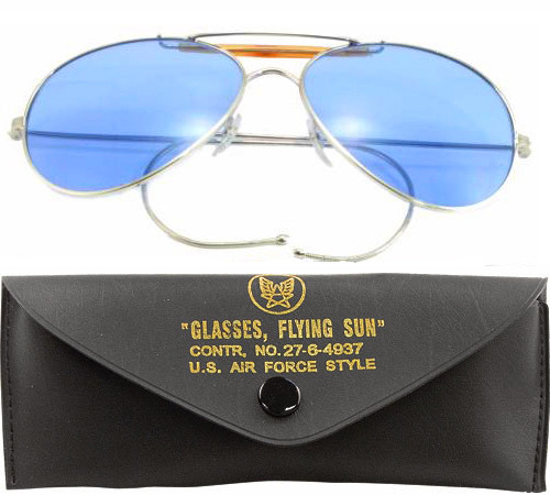 Blue Lenses US Air Force Style Aviators Sunglasses With Case e7f54d30053