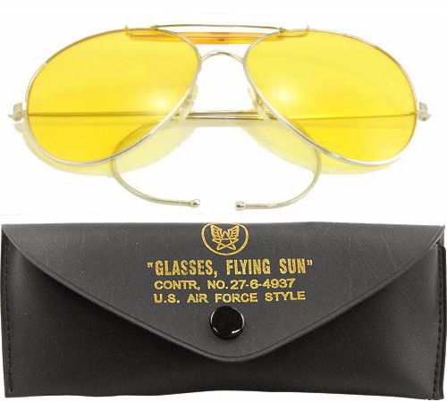 Yellow Lenses US Air Force Style Aviators Sunglasses With Case fb74efb5685