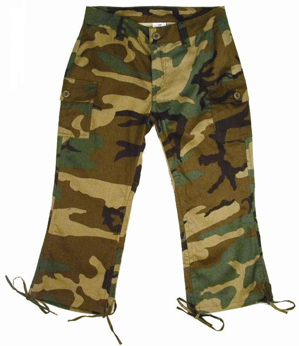 Woodland Camouflage Capri Pants Womens