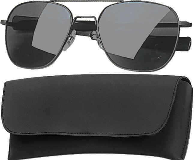 Black Military 52mm Pilots Aviator Sunglasses (Smoke Lenses) 7f1fabc7321