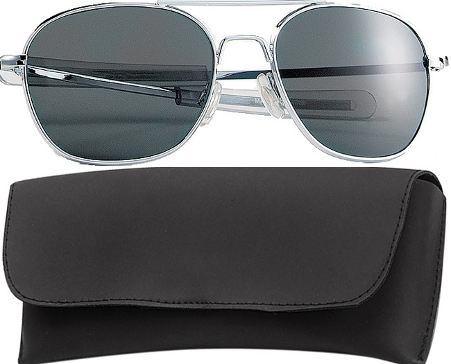 Chrome Military 52mm Pilots Aviator Sunglasses (Smoke Lenses) ab4e7e6182a