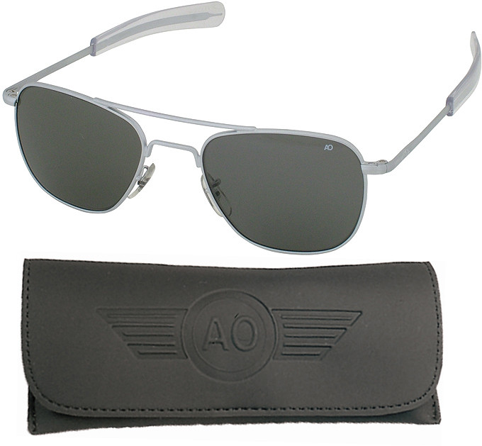 adb669a42ec AO Eyewear Matte Silver 57mm Gray Lenses Genuine GI Air Force Pilots  Sunglasses with Case