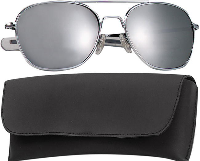 Chrome Military 58mm Pilots Aviator Sunglasses (Mirror Lenses) f5b457a23d4