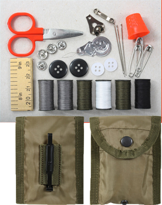 Military Sewing Repair Kit in Olive Drab Compass Pouch e0fcf6bf777