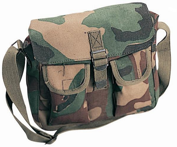 Woodland Camouflage Canvas Military Ammo Shoulder Bag be3e502df30
