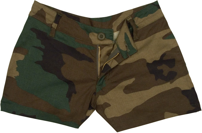 Woodland Camouflage Women s Cotton Mini Shorts 30615bce585