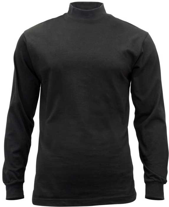 Black Law Enforcement Long Sleeve Cotton Mock Turtleneck 2aeaa355955