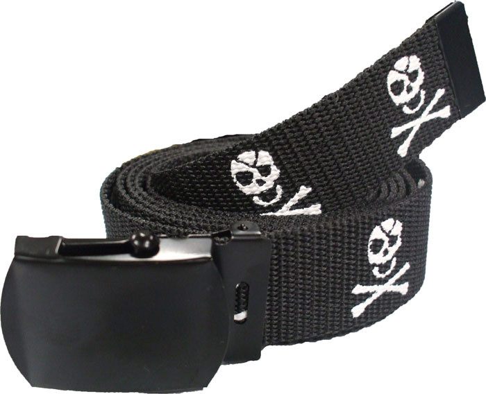 Black Pirate Jolly Roger Web Belt with Black Buckle (54