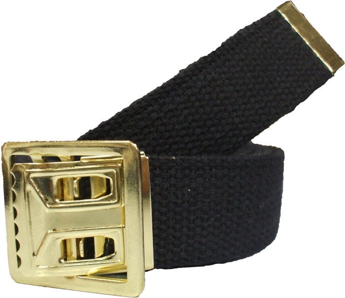 Black Military Cotton Web Belt   Brass Open Face Buckle - 54