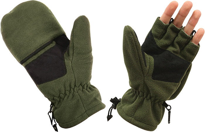 Olive Drab Fleece Sniper Fingerless Mitten Gloves b3a4c20d989
