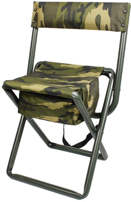 Woodland Camouflage Deluxe Folding Chair Stool With
