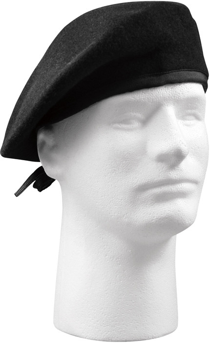 Black Military Wool w  No Eyelets Beret Hat 44385edebc9