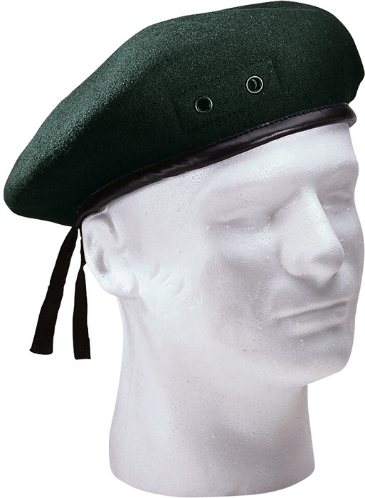 Green Military Wool Monty Beret Hat w  Eyelets 662aacbc9