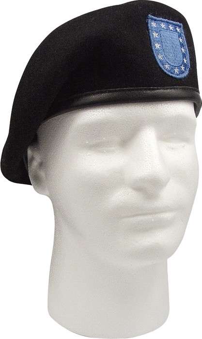 Black Military Wool Inspection Ready Blue Flash Beret 94c27bf8a