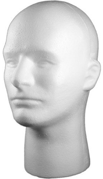 Male Head Styrofoam White