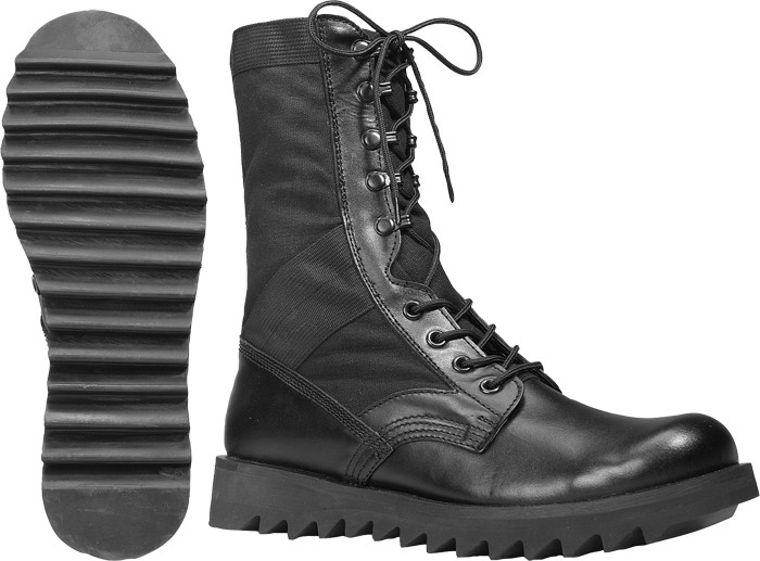 Black Ripple Sole Army Leather Jungle Boots dcaca544ffe