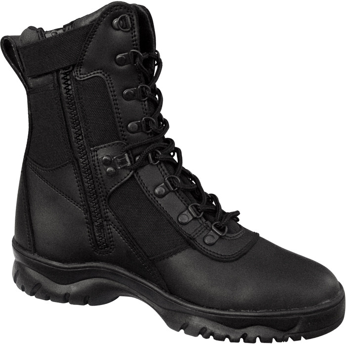 Black Forced Entry Side Zip Leather Tactical Boots 4f80b0517d3