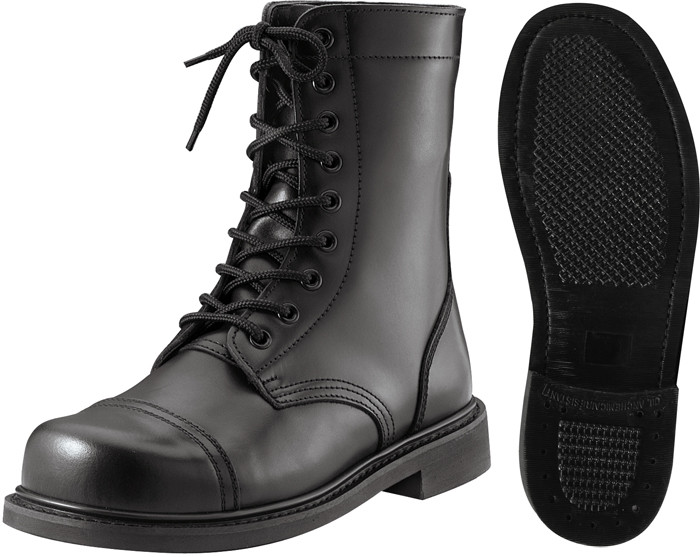 Black Leather Military Combat Boots (9