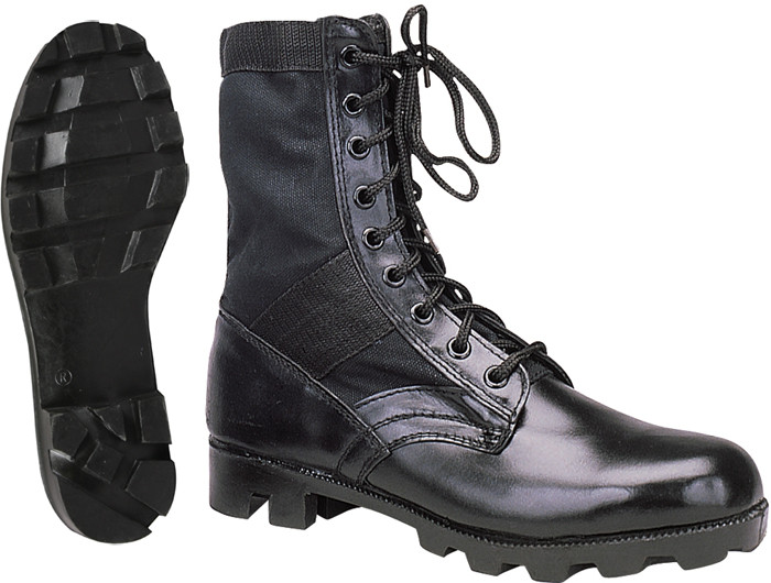 More Views. Black Leather Panama Sole Military Combat Jungle Boots 4acbfac41bb