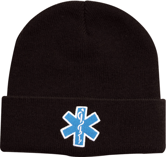 Black Embroidered EMS EMT Emergency Star of Life Knit Acrylic ... 1ac9f573221