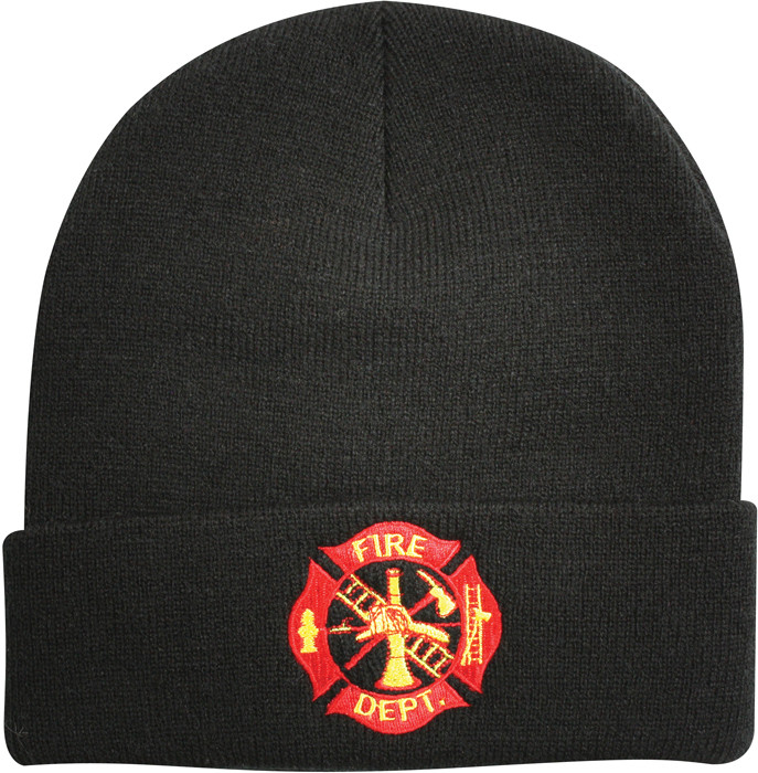 Black Law Enforcement Fire Department Knitted Winter Hat Acrylic ... 1fad8a63dde