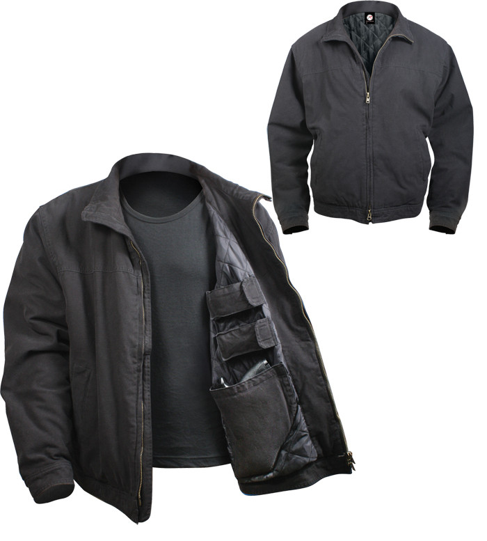 Black Military Concealed Carry 3 Season Tactical Jacket fc474af8a88