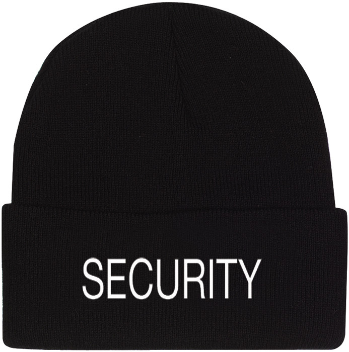 Black Security Embroidered Knitted Winter Hat Acrylic Watch Cap 36dd443ed0b