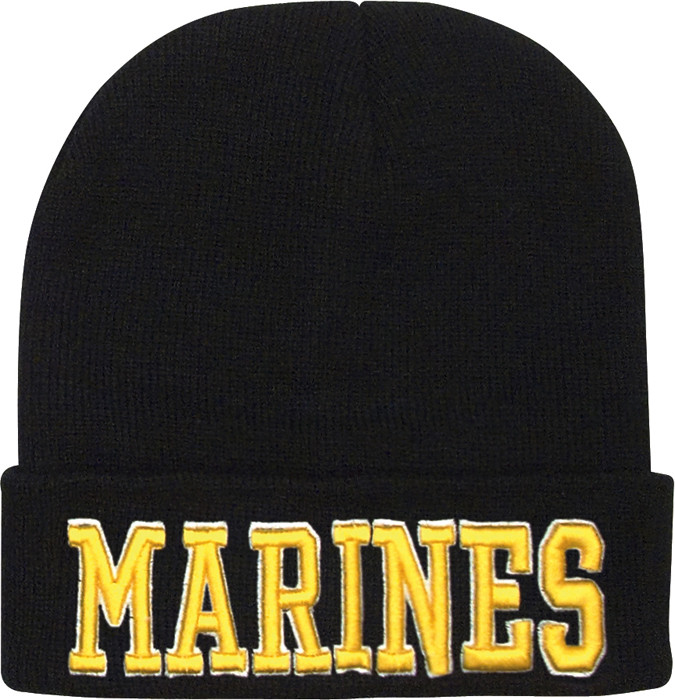 Black Military Marines Deluxe Knitted Winter Hat Acrylic Watch Cap 2b9cc0229