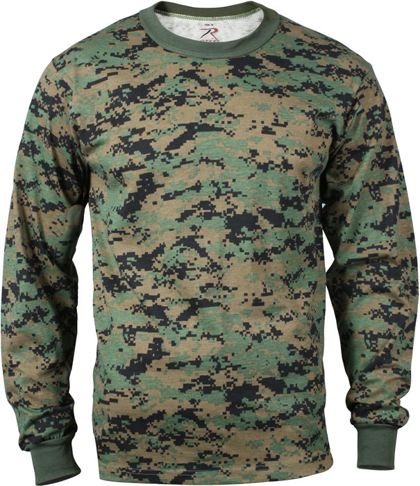 Woodland Digital Camouflage Tactical Long Sleeve Military T-Shirt c19ed0af78