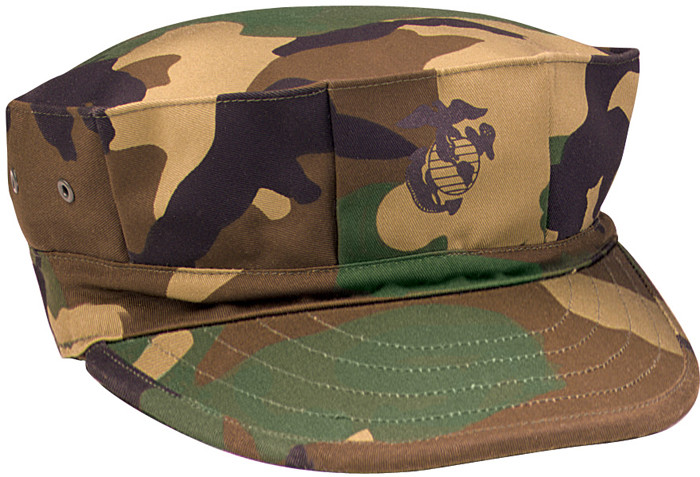 d1db8b04 More Views. Woodland Camouflage Military Marine Corps 8 Point Utility Cap  w/ USMC Emblem