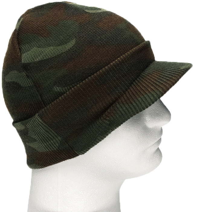 More Views. Woodland Camouflage Military Beanie Deluxe Skull Visor ... 932a5c15eb3