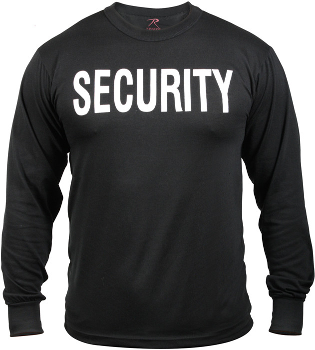 Black Security Tactical 2-Sided Long Sleeve Military T-Shirt 0324dceed41