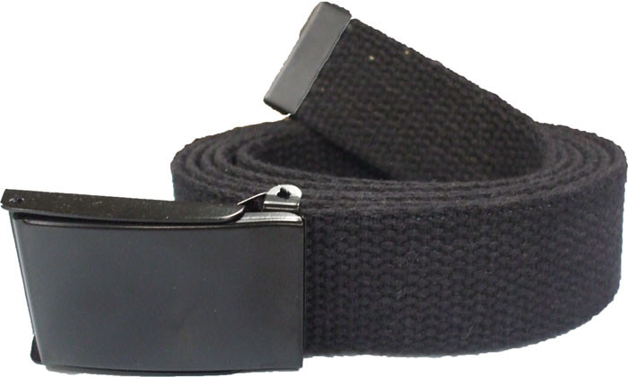 Black Military Web Belt with Black Flip Buckle (54