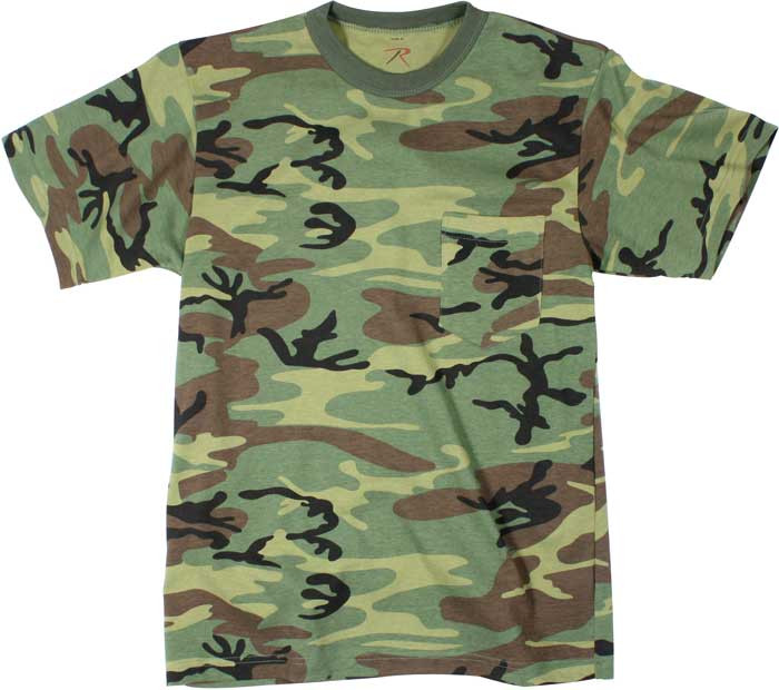 Woodland Camouflage Military Short Sleeve T-Shirt w  Chest Pocket 925a627ea22