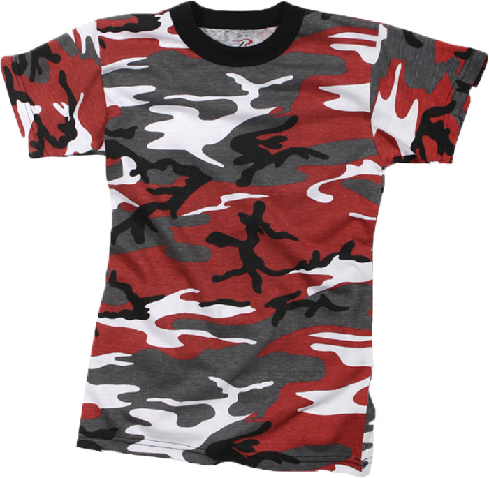 Red Camouflage Kids Military Short Sleeve T-Shirt 9380cd4dda6