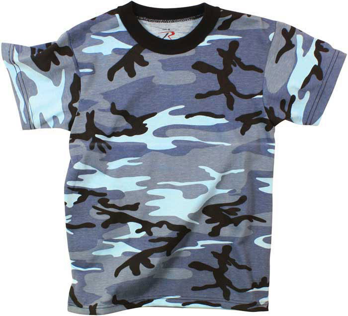 Sky Blue Camouflage Kids Military Tactical T-Shirt a1a50dce27