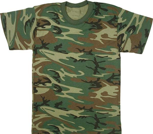 Woodland Camouflage Military Short Sleeve T-Shirt USA Made fd0f8e750