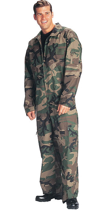 Woodland Camouflage Military Air Force Style Flight Suit Coveralls e1d022b1d29