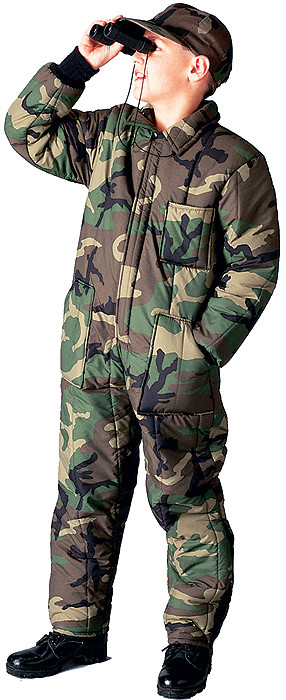 Woodland Camouflage Cold Weather Insulated Coverall Kids Jumpsuit 36bdd69799a