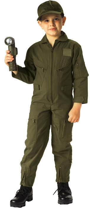 Kids Olive Drab US Air Force Style Military Costume Flight Suit 099c9103c12