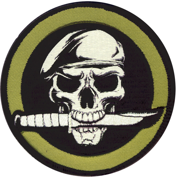 Black Military Skull   Knife Patch With Hook Back 9f9700f24c7