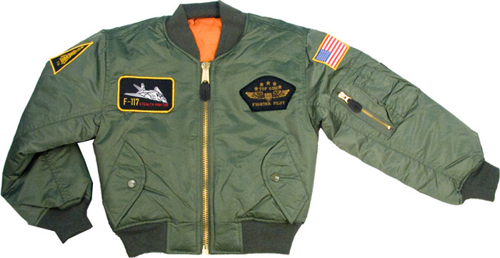 db9350eb425 Kids Sage Green Military US Air Force Style Top Gun MA-1 Flight Jacket
