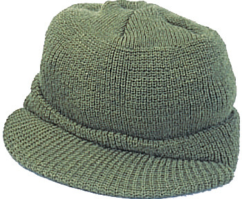 More Views. Olive Drab Military Beanie Wool Skull Visor Jeep Cap ... bc3176006d1