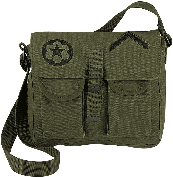 Olive Drab Canvas Military Ammo Shoulder Bag With Patches 111e3246c19