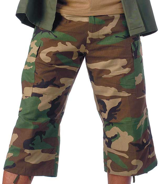 5e0627daa25c64 Woodland Camouflage Military Capri Rip-Stop Fatigue BDU Pants