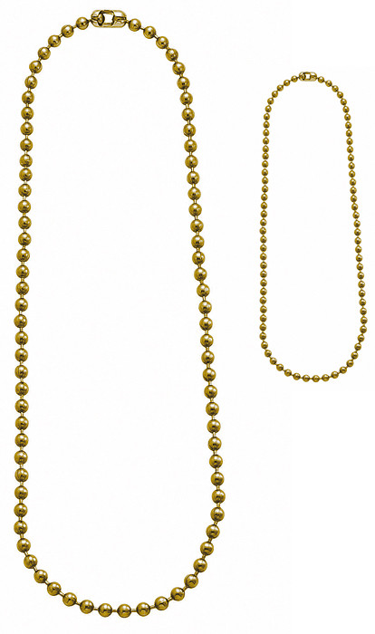 Gold Military Dog Tag Chain Set (4.5