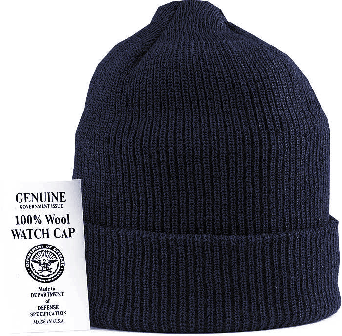 0532b9841 Navy Blue Military Winter Beanie Hat Wool Watch Cap