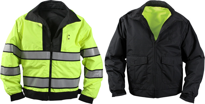 Black   Yellow Reversible Hi-Visibility Waterproof Uniform Jacket 2ea3d3cbe31